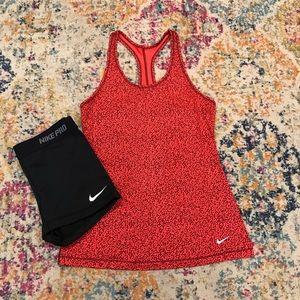 Nike red leopard print tank top